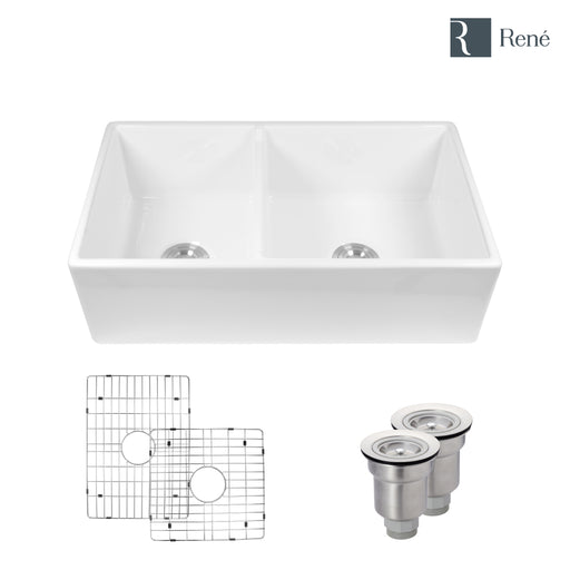 Rene R10-3003 Double Bowl Fireclay Apron Front Sink with Grid and Basket Strainer