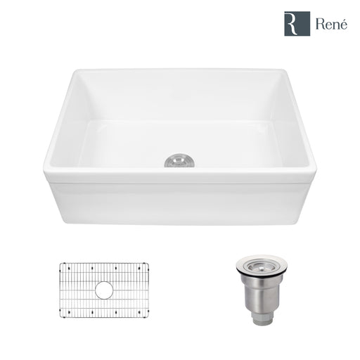 Rene R10-3005 Single Bowl Fireclay Apron Front Sink with Grid and Basket Strainer