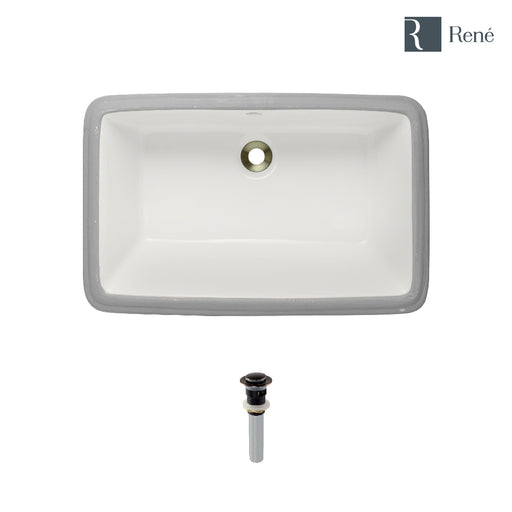 Rene R2-1001-B-PUD Biscuit Rectangular Porcelain Bathroom Sink with Standard Pop-Up Drain-DirectSinks