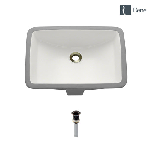 Rene R2-1002-B-PUD Biscuit Rectangular Porcelain Bathroom Sink with Standard Pop-Up Drain-DirectSinks