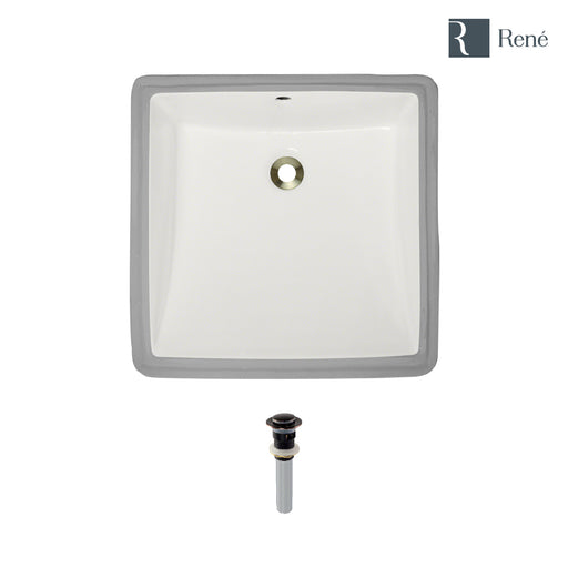 Rene R2-1003-B-PUD Biscuit Square Porcelain Bathroom Sink with Standard Pop-Up Drain-DirectSinks