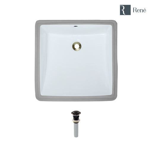 Rene R2-1003-W-PUD White Square Porcelain Bathroom Sink with Standard Pop-Up Drain-DirectSinks