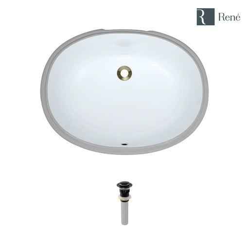 Rene R2-1005-W-PUD White Oval Porcelain Bathroom Sink with Standard Pop-Up Drain-DirectSinks