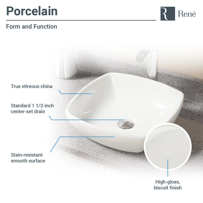 Rene R2-5011-B-R9-7001 Biscuit Porcelain Vessel Sink with Vessel Faucet and Vessel Pop-Up Drain-DirectSinks