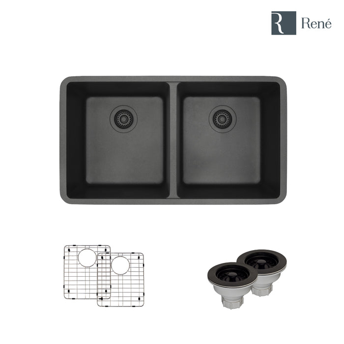Rene R3-1002-CAR-ST-CGS Carbon Equal Double Bowl Composite Granite Kitchen  Sink with Two Grids and Two Matching Colored Strainers