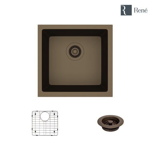 R3-1003-UMB-ST-CGF Umber Single Bowl Quartz Kitchen Sink with Grid and Matching Colored Flange, Dual-Mount-DirectSinks