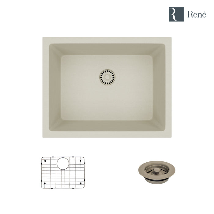 R3-1004-CON-ST-CGF Concrete Single Bowl Quartz Kitchen Sink with Grid and Matching Colored Flange-DirectSinks