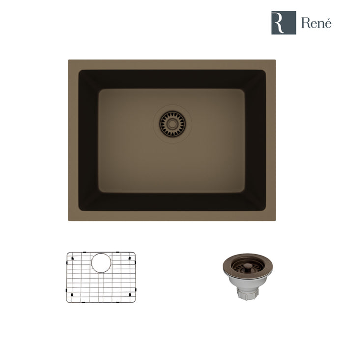 Rene R3-1004-UMB-ST-CGS Umber Single Bowl Composite Granite Kitchen Sink with Grid and Matching Colored Strainer-DirectSinks