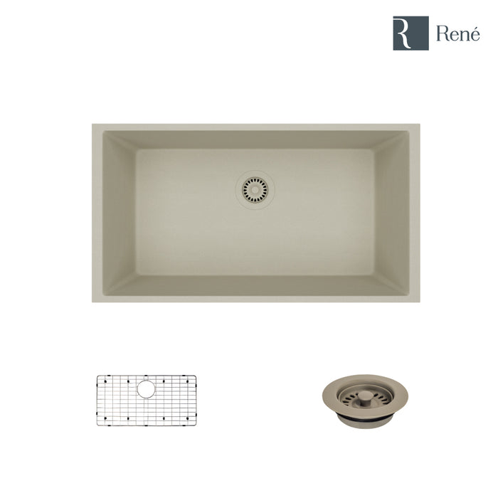 R3-1006-CON-ST-CGF Concrete Single Bowl Undermount Quartz Kitchen Sink with Grid and Matching Colored Flange-DirectSinks