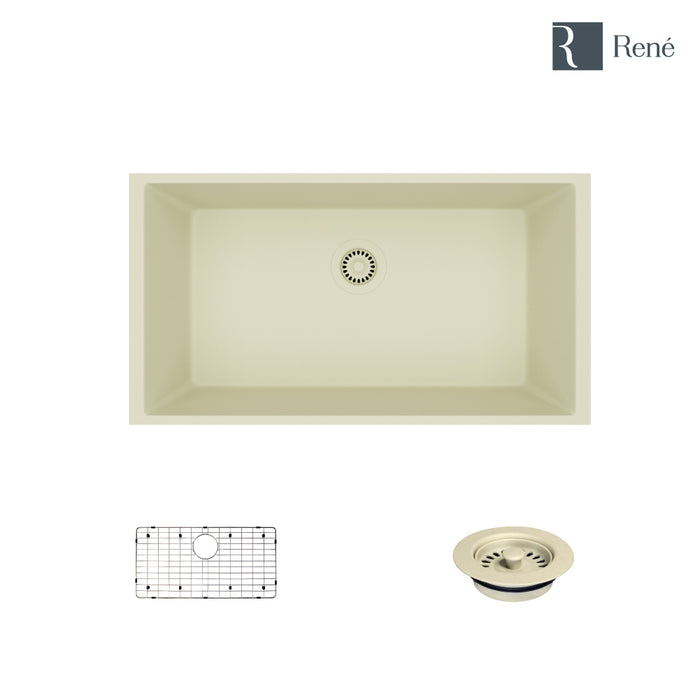 R3-1006-ECR-ST-CGF Ecru Single Bowl Undermount Composite Granite Kitchen Sink with Grid and Matching Colored Flange-DirectSinks
