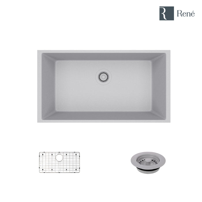 R3-1006-PWT-ST-CGF Pewter Single Bowl Undermount Composite Granite Kitchen Sink with Grid and Matching Colored Flange-DirectSinks