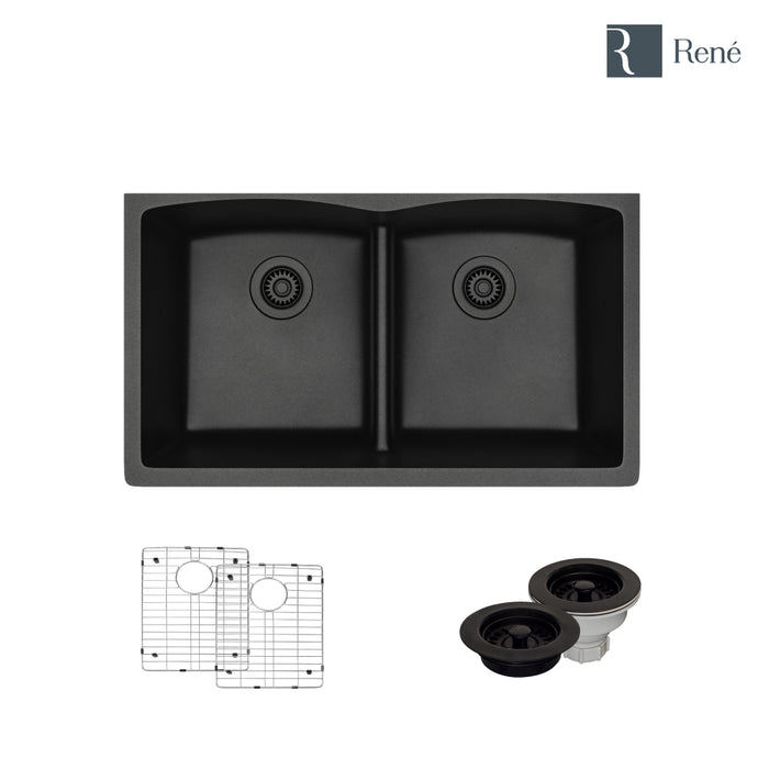 R3-1007-CAR-ST-CGF Carbon Low Divide Composite Granite Kitchen Sink with Two Grids and Matching Colored Strainer and Flange-DirectSinks