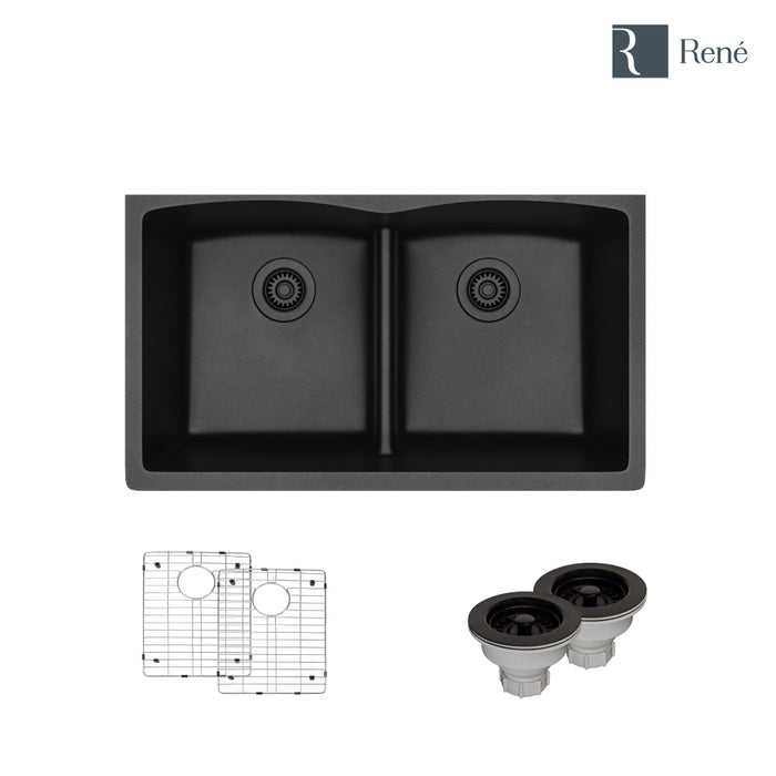 R3-1007-CAR-ST-CGS Carbon Low Divide Composite Granite Kitchen Sink with Two Grids and Two Matching Colored Strainers-DirectSinks