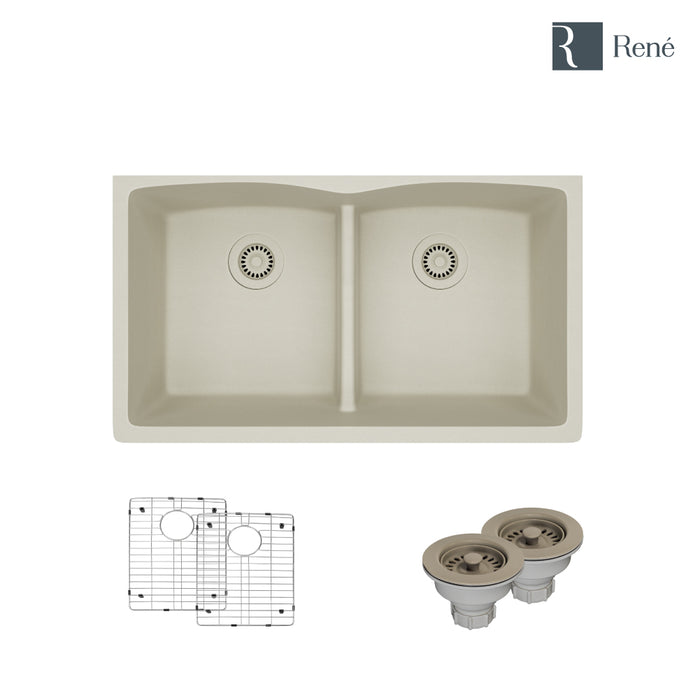 R3-1007-CON-ST-CGS Concrete Low Divide Quartz Kitchen Sink with Two Grids and Two Matching Colored Strainers-DirectSinks