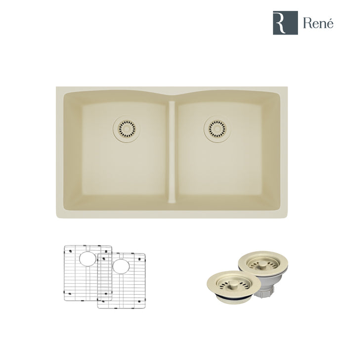 R3-1007-ECR-ST-CGF Ecru Low Divide Composite Granite Kitchen Sink with Two Grids and Matching Colored Strainer and Flange-DirectSinks