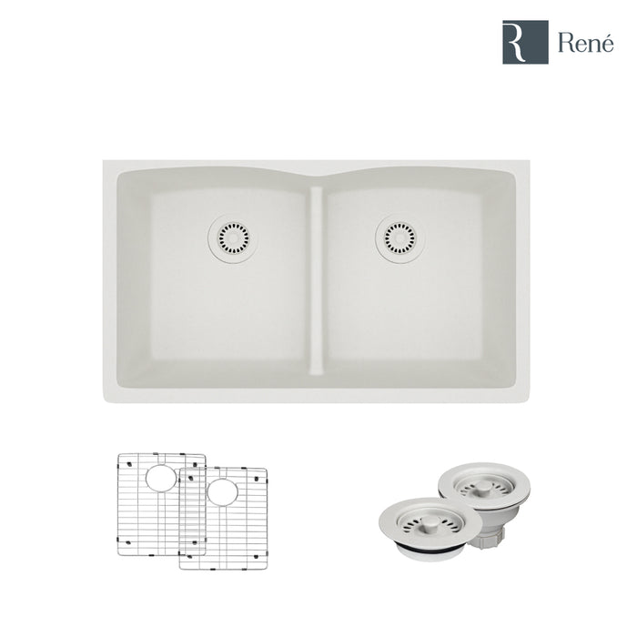R3-1007-IVR-ST-CGF Ivory Low Divide Quartz Kitchen Sink with Two Grids and Matching Colored Strainer and Flange-DirectSinks