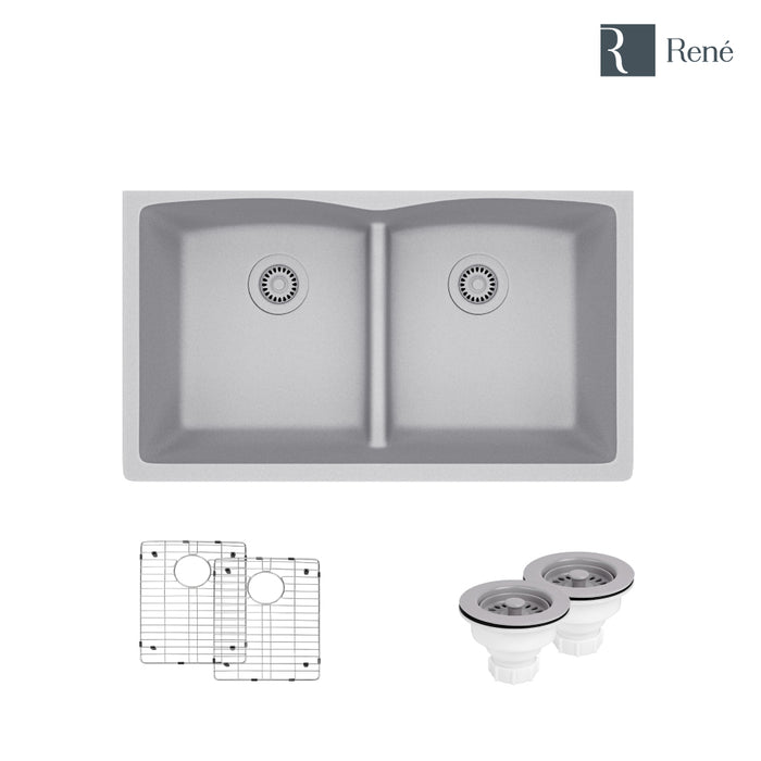R3-1007-PWT-ST-CGS Pewter Low Divide Composite Granite Kitchen Sink with Two Grids and Two Matching Colored Strainers-DirectSinks