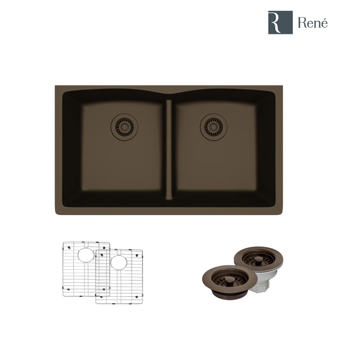 R3-1007-UMB-ST-CGF Umber Low Divide Quartz Kitchen Sink with Two Grids and Matching Colored Strainer and Flange-DirectSinks