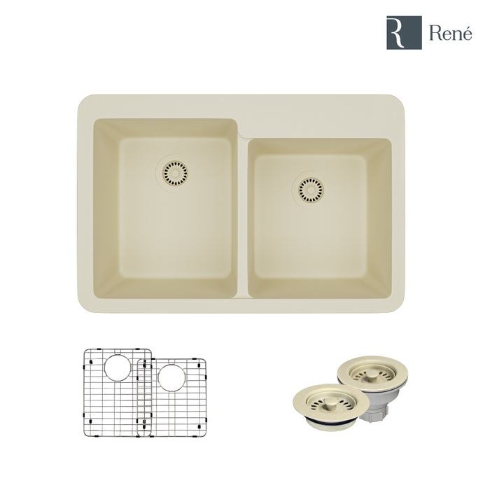 R3-2001-ECR-ST-CGF Ecru Topmount Offset Composite Granite Kitchen Sink with Two Grids and Matching Colored Strainer and Flange-DirectSinks