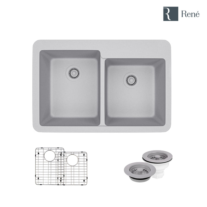 R3-2001-PWT-ST-CGF Pewter Topmount Offset Composite Granite Kitchen Sink  with Two Grids and Matching Colored Strainer and Flange