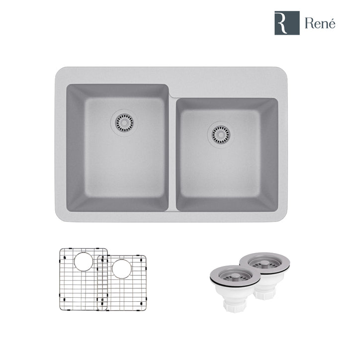 R3-2001-PWT-ST-CGS Pewter Topmount Offset Composite Granite Kitchen Sink with Two Grids and Two Matching Colored Strainers-DirectSinks