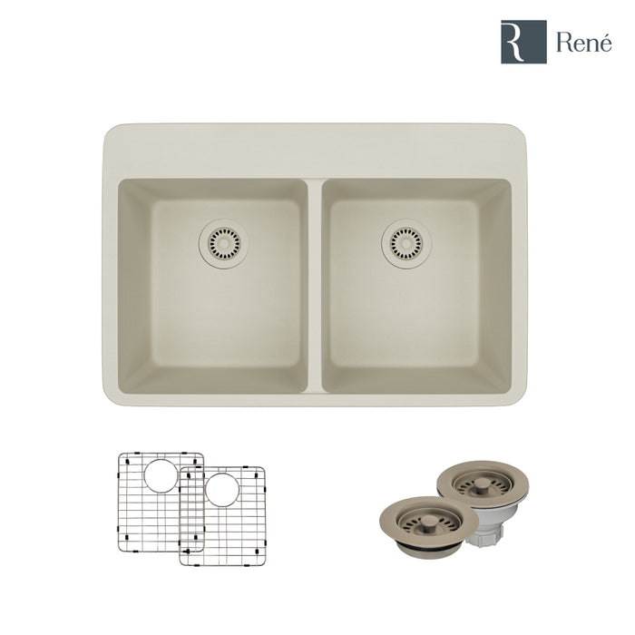 R3-2002-CON-ST-CGF Concrete Topmount Quartz Kitchen Sink with Two Grids and Matching Colored Strainer and Flange-DirectSinks