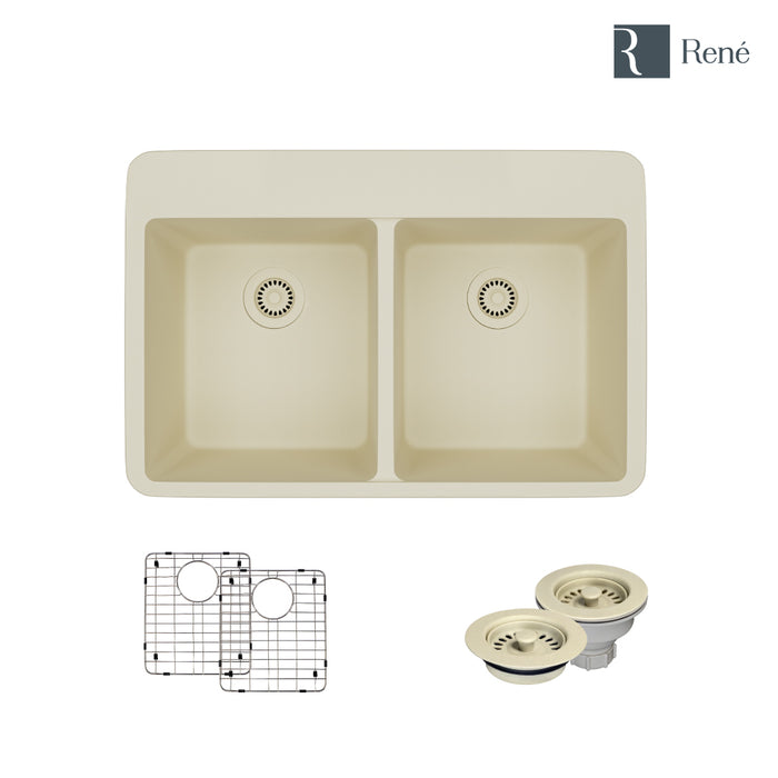R3-2002-ECR-ST-CGF Ecru Topmount Composite Granite Kitchen Sink with Two Grids and Matching Colored Strainer and Flange-DirectSinks