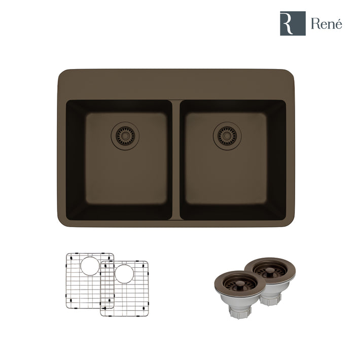 R3-2002-UMB-ST-CGS Umber Topmount Quartz Kitchen Sink with Two Grids and Two Matching Colored Strainers-DirectSinks