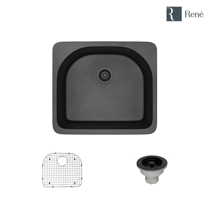 R3-2005-CAR-ST-CGS Carbon Topmount D-Bowl Composite Granite Kitchen Sink with Grid and Matching Colored Strainer-DirectSinks