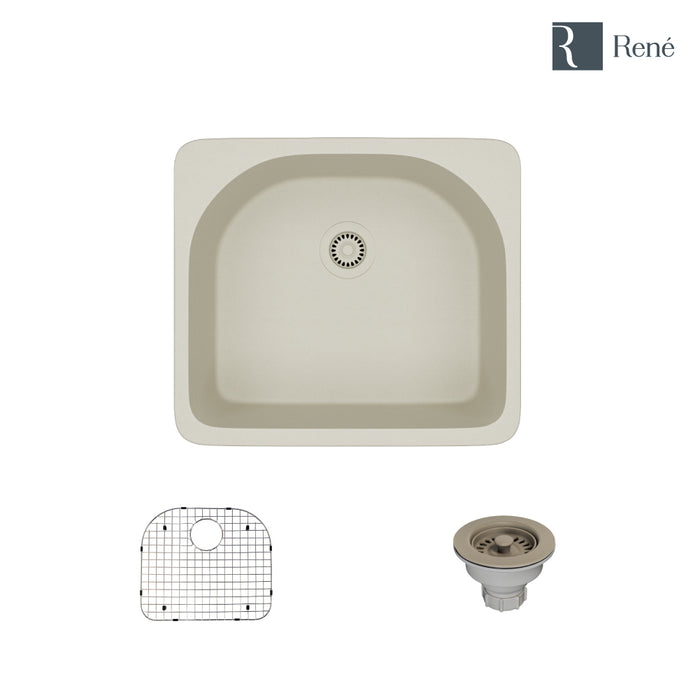 R3-2005-CON-ST-CGS Concrete Topmount D-Bowl Quartz Kitchen Sink with Grid and Matching Colored Strainer-DirectSinks