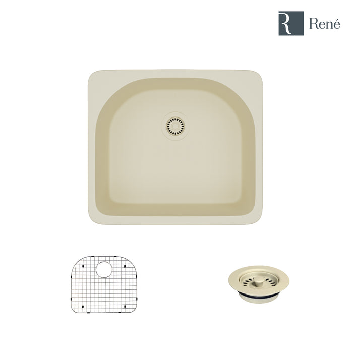 R3-2005-ECR-ST-CGF Ecru Topmount D-Bowl Composite Granite Kitchen Sink with Grid and Matching Colored Flange-DirectSinks