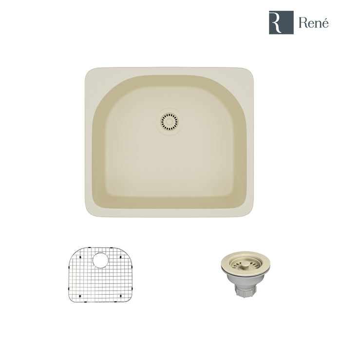 R3-2005-ECR-ST-CGS Ecru Topmount D-Bowl Composite Granite Kitchen Sink with Grid and Matching Colored Strainer-DirectSinks