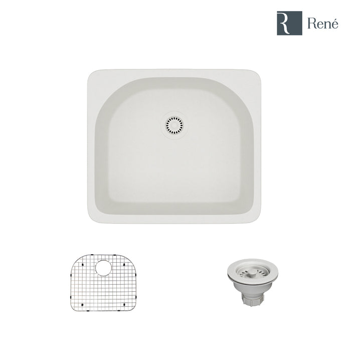 R3-2005-IVR-ST-CGS Ivory Topmount D-Bowl Quartz Kitchen Sink with Grid and Matching Colored Strainer-DirectSinks