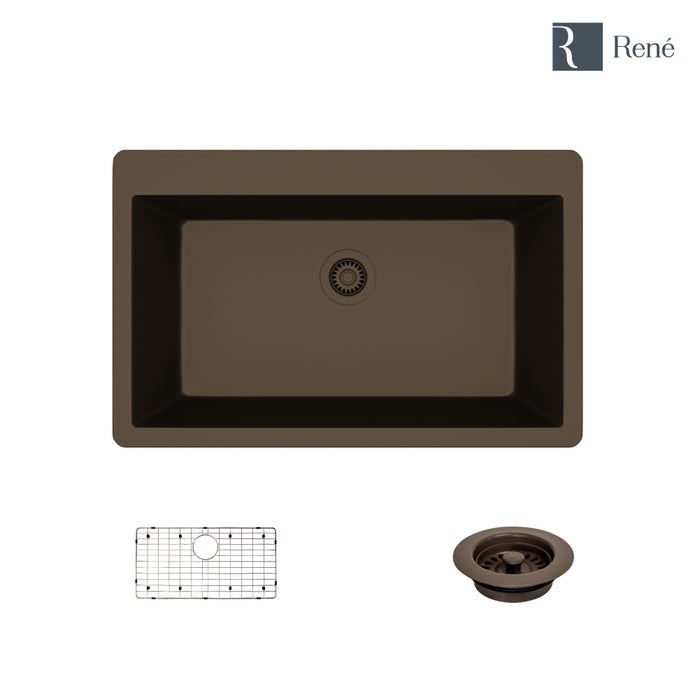 R3-2006-UMB-ST-CGF Umber Topmount Single Bowl Quartz Kitchen Sink with Grid and Matching Colored Flange-DirectSinks