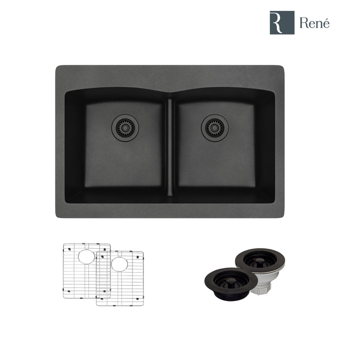 R3-2007-CAR-ST-CGF Carbon Topmount Low Divide Composite Granite Kitchen Sink with Two Grids and Matching Colored Strainer and Flange-DirectSinks