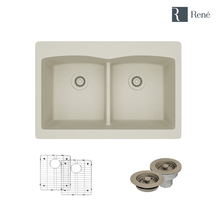 R3-2007-CON-ST-CGF Concrete Topmount Low Divide Quartz Kitchen Sink with Two Grids and Matching Colored Strainer and Flange-DirectSinks