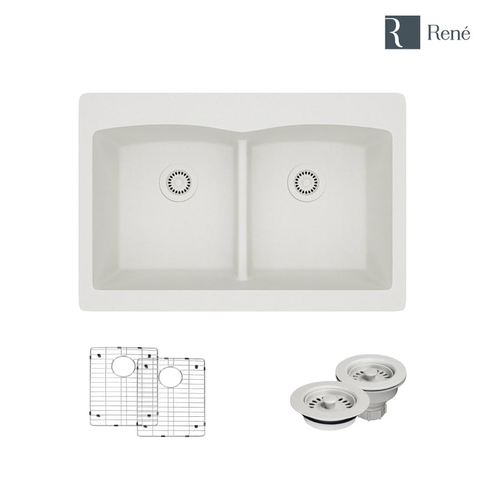 R3-2007-IVR-ST-CGF Ivory Topmount Low Divide Quartz Kitchen Sink with Two Grids and Matching Colored Strainer and Flange-DirectSinks