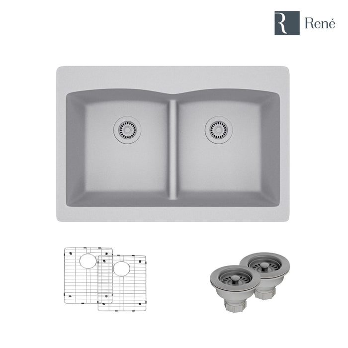 R3-2007-PWT-ST-CGS Pewter Topmount Low Divide Composite Granite Kitchen Sink with Two Grids and Two Matching Colored Strainers-DirectSinks