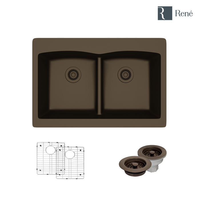 R3-2007-UMB-ST-CGF Umber Topmount Low Divide Quartz Kitchen Sink with Two Grids and Matching Colored Strainer and Flange-DirectSinks