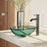 Rene R5-5001-IVY-R9-7001-ABR Ivy Colored Glass Vessel Sink with Antique Bronze Vessel Faucet, Sink Ring, and Vessel Pop-Up Drain-DirectSinks