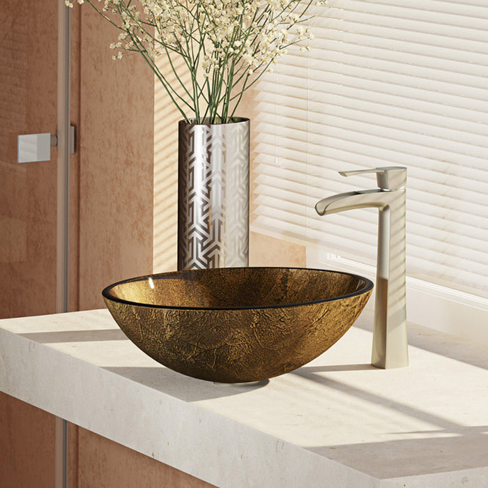 Rene R5-5035-R9-7007-BN Foil Undertone Glass Vessel Sink with Brushed Nickel Vessel Faucet, Sink Ring, and Vessel Pop-Up Drain-DirectSinks