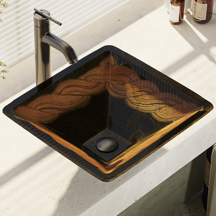 Rene R5-5036-R9-7001-ABR Foil Undertone Glass Vessel Sink with Antique Bronze Vessel Faucet, Sink Ring, and Vessel Pop-Up Drain-DirectSinks