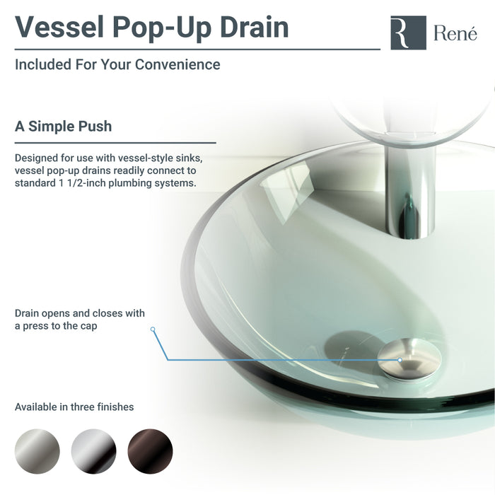 Rene R5-5036-R9-7006-ABR Foil Undertone Glass Vessel Sink with Antique Bronze Vessel Faucet, Sink Ring, and Vessel Pop-Up Drain-DirectSinks