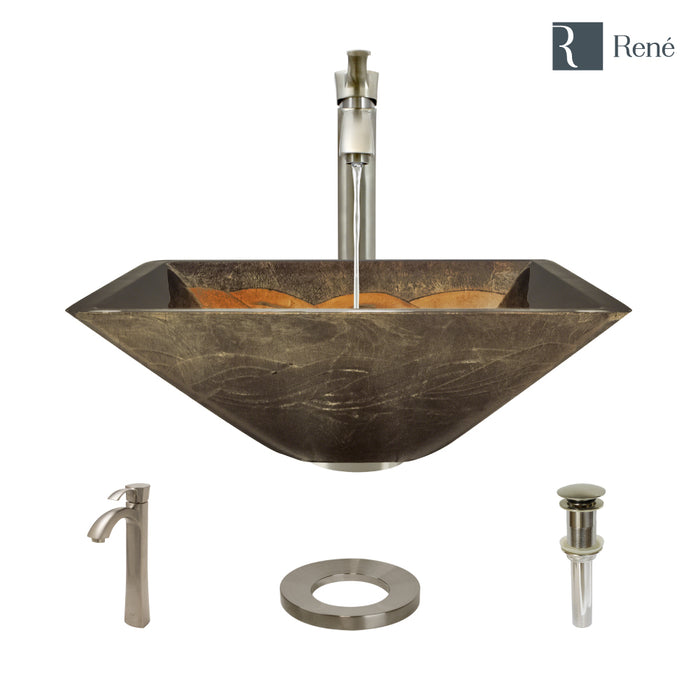 Rene R5-5036-R9-7006-BN Foil Undertone Glass Vessel Sink with Brushed Nickel Vessel Faucet, Sink Ring, and Vessel Pop-Up Drain-DirectSinks
