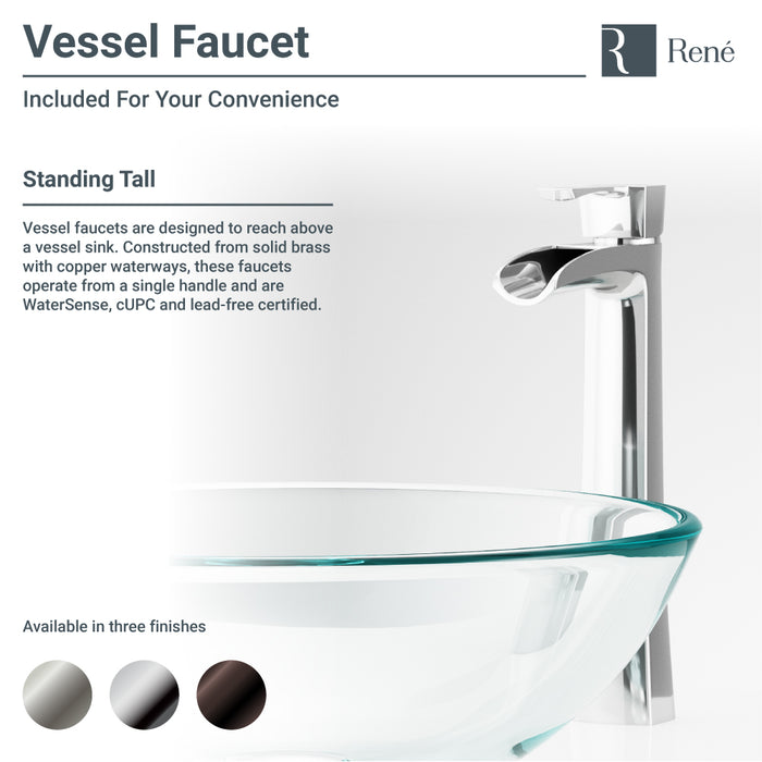 Rene R5-5036-R9-7007-ABR Foil Undertone Glass Vessel Sink with Antique Bronze Vessel Faucet, Sink Ring, and Vessel Pop-Up Drain-DirectSinks