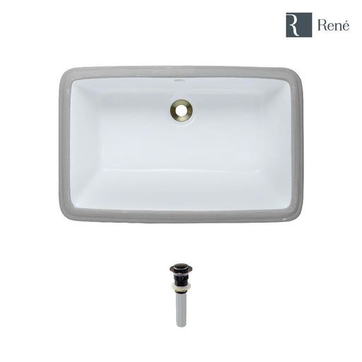 Rene R2-1001-W-PUD White Rectangular Porcelain Bathroom Sink with Standard Pop-Up Drain-DirectSinks