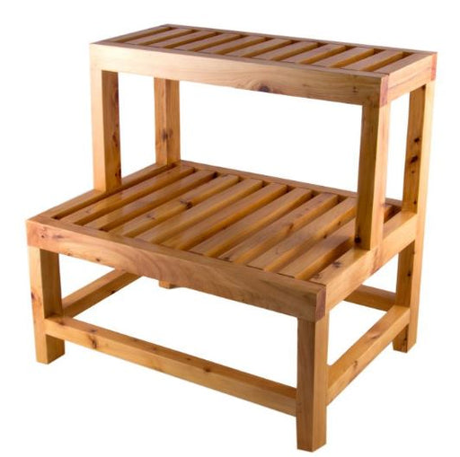 "ALFI brand AB4402 20"" Double Wooden Stepping Stool Multi-Purpose Accessory"