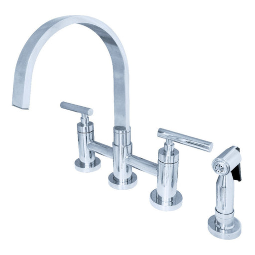 Kingston Brass Manhattan Two-Handle Kitchen Faucet with Brass Side Sprayer