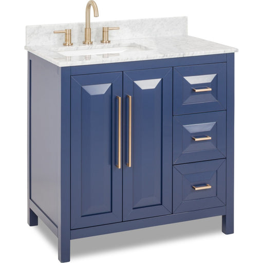 HARDWARE RESOURCES VN-CAD-36-BL-WC JEFFREY ALEXANDER CADE CONTEMPO 36 INCH VANITY IN BLUE WITH PRE-ASSEMBLED TOP AND BOWL