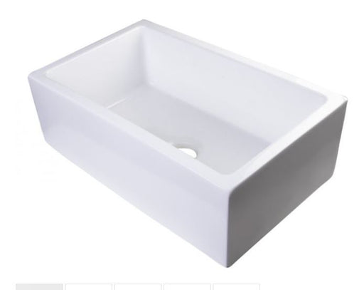 "ALFI brand AB3018SB 30"" Smooth Solid Thick Wall Fireclay Single Bowl Farm Sink-DirectSinks"